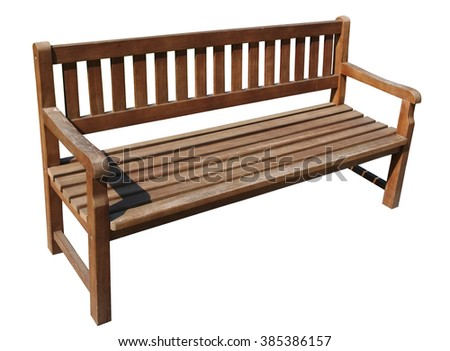 Wooden long  bench in public city park. Isolated - stock photo