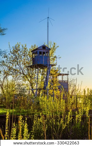 wooden lookout tower situated on a danube shore in bulgarian city ruse. - stock photo