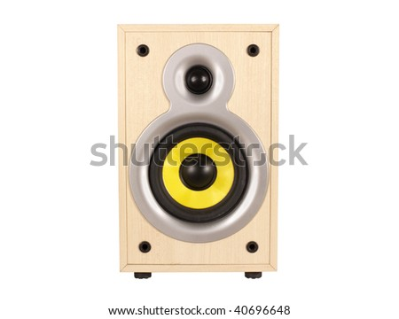 wooden loud speaker on a white background - stock photo