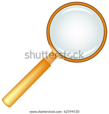 wooden magnifying glass against white background, abstract art illustration; for vector format please visit my gallery - stock photo