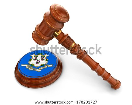 Wooden Mallet and flag Of Connecticut (clipping path included) - stock photo