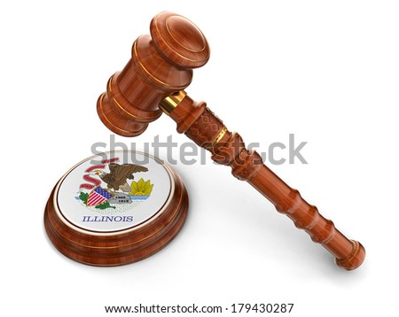Wooden Mallet and flag Of Illinois (clipping path included) - stock photo