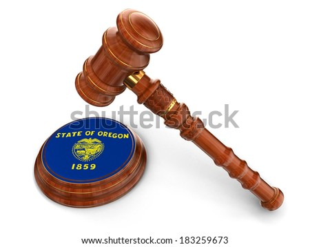 Wooden Mallet and flag Of Oregon (clipping path included) - stock photo