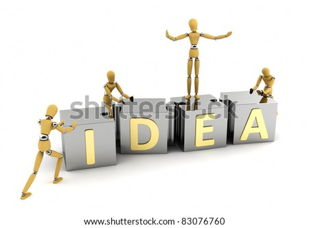 Wooden mannequins putting an idea together over white background - stock photo