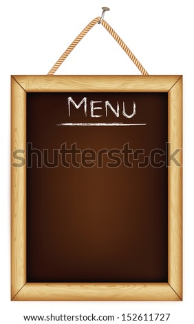 wooden menu board. Rasterized illustration.  - stock photo