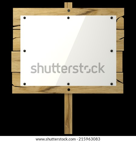 Wooden message board. isolated on black background. 3d illustration - stock photo