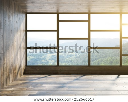 Wooden minimalism empty interior. 3d rendering - stock photo