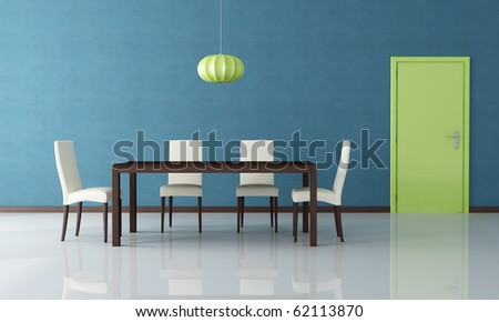 wooden modern  table and chair in a blue dining room with green door - rendering - stock photo