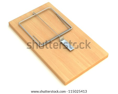 Wooden mouse trap isolated on white background 3D Render - stock photo