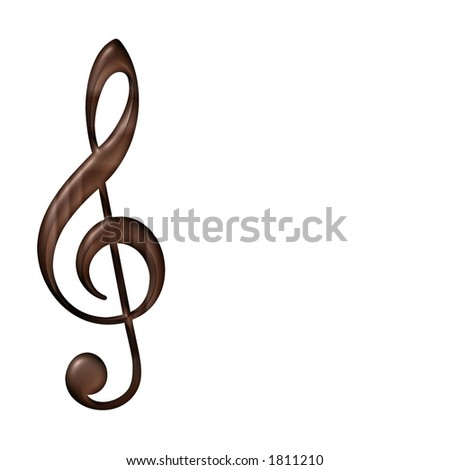 Wooden Musical Note - stock photo