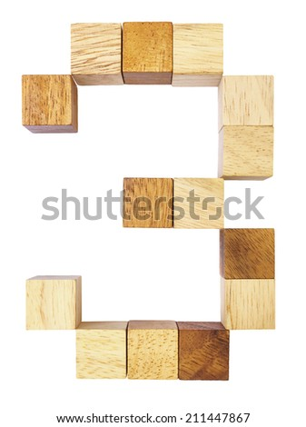 wooden number 3 on white background - stock photo