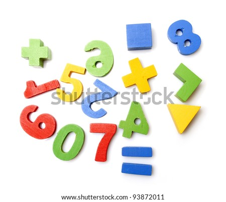 wooden numbers on white background - stock photo