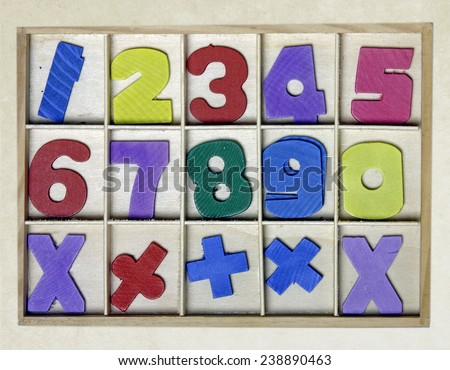 wooden numbers toy  - stock photo