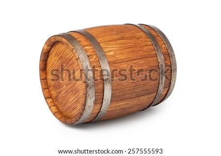 Wooden oak barrel isolated on white background - stock photo