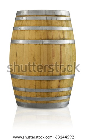 Wooden oak wine barrel with a clipping path - stock photo