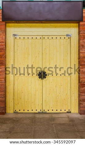 Wooden of chinese door on background. - stock photo