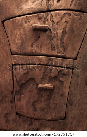 Wooden ornament drawer sculpture - stock photo