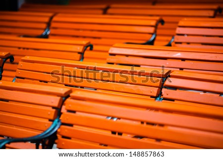 Wooden outdoor bench pattern background - stock photo