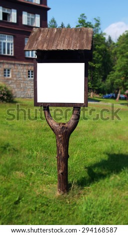 Wooden outdoor notice board - stock photo