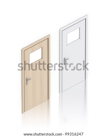 Wooden painted doors. High resolution 3D illustration with clipping paths. - stock photo
