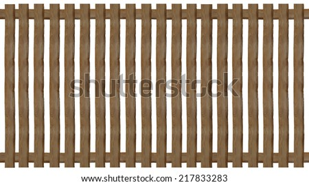 wooden paling fence, isolated on white background - stock photo