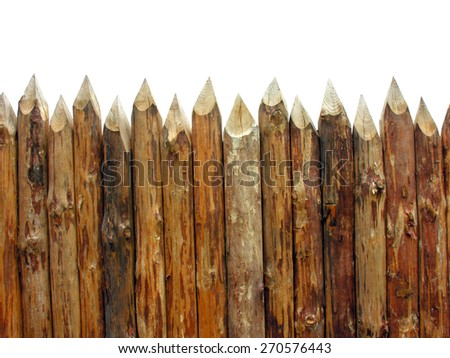 wooden paling isolated on white           - stock photo