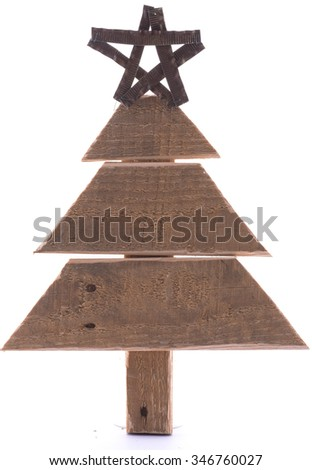 Wooden Pallet Christmas Tree with Star on White - stock photo