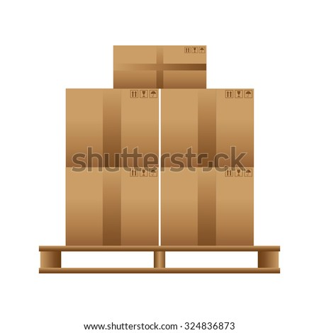 Wooden pallet with cardboard boxes on a white background.  - stock photo