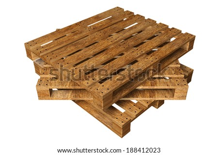 wooden pallets. Isolated on white background. 3d - stock photo