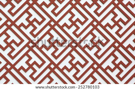 Wooden Panel Decorated With Thunder Pattern of Chinese Style - stock photo