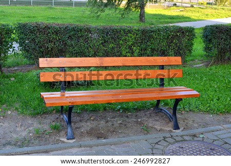 wooden park bench at a summer park  - stock photo