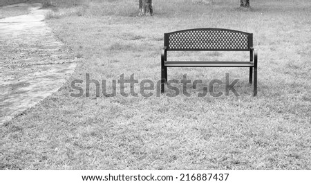 wooden park bench at the public park image. - stock photo