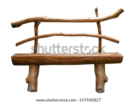 wooden park bench . Isolated over white background. - stock photo