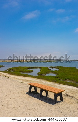 Wooden park bench on sandy walking trail in a wetland nature preserve. - stock photo