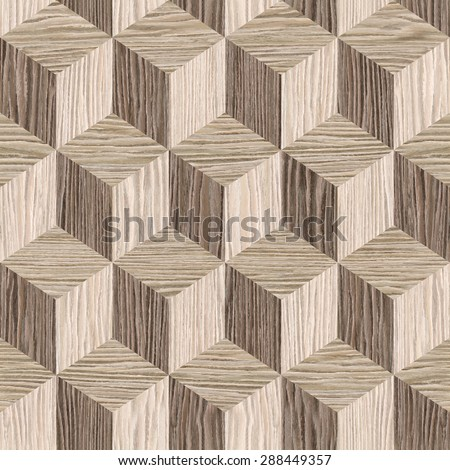 Wooden parquet blocks - seamless background - Blasted Oak Groove wood texture - stock photo