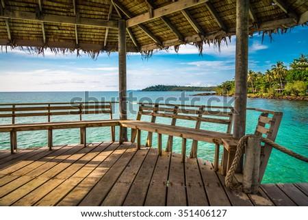 Wooden pavilion on beautiful tropical island beach - Koh Kood, Trat Thailand - stock photo
