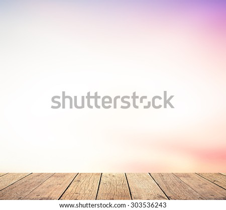 Wooden paving and abstract blurred beautiful sky textured background: purple pink and blue patterns. Happy Valentine's Day, Love, Romantic concept. - stock photo