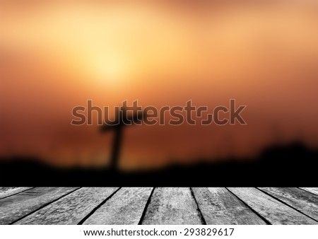 Wooden paving blurred cross  background - stock photo