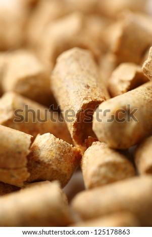 Wooden pellets closeup - stock photo