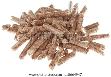 Wooden Pellets Isolated on White Background - stock photo