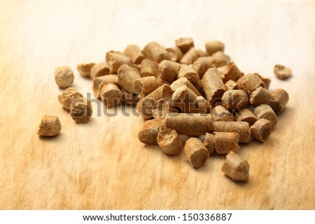 Wooden pellets on paper background - stock photo