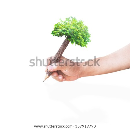 Wooden Pencil in Hand Isolated on White. Ecology Biological World Environment Day Services Insurance Finance CSR Education Business Trust concept - stock photo