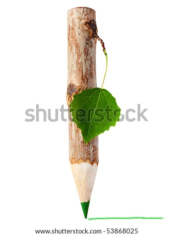 Wooden pencil  with leaf - stock photo