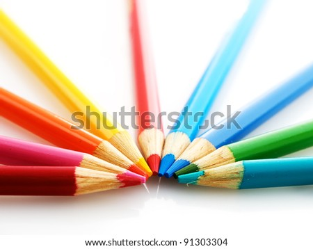 Wooden pencils on a light background. Teamwork concept - stock photo