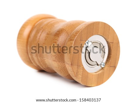 Wooden pepper or salt pot. - stock photo