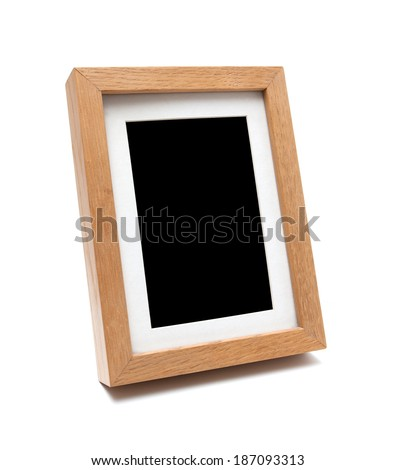 Wooden photo frame(clipping path) - stock photo