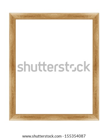 wooden photo frame isolated on white background  (with clipping work path) - stock photo