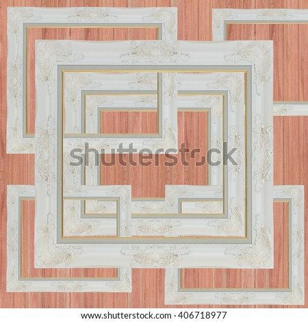 wooden photo frame on Old wood  background - stock photo