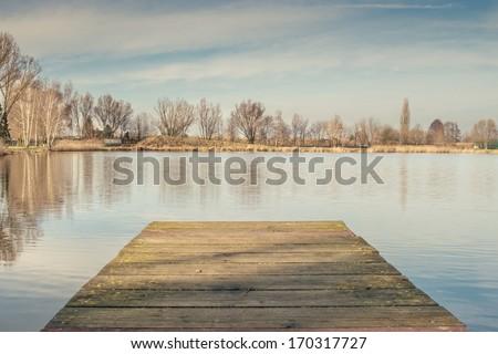 Wooden pier - stock photo