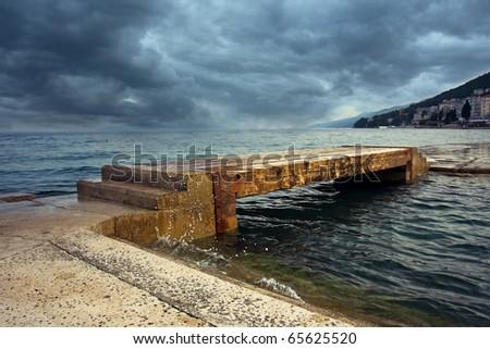 wooden pier in Opatija, Croatia - stock photo